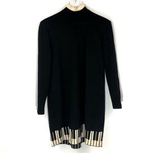 St John • Separates Black Piano Hem Sweater Dress